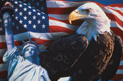 Eagle,flag, statue of liberty